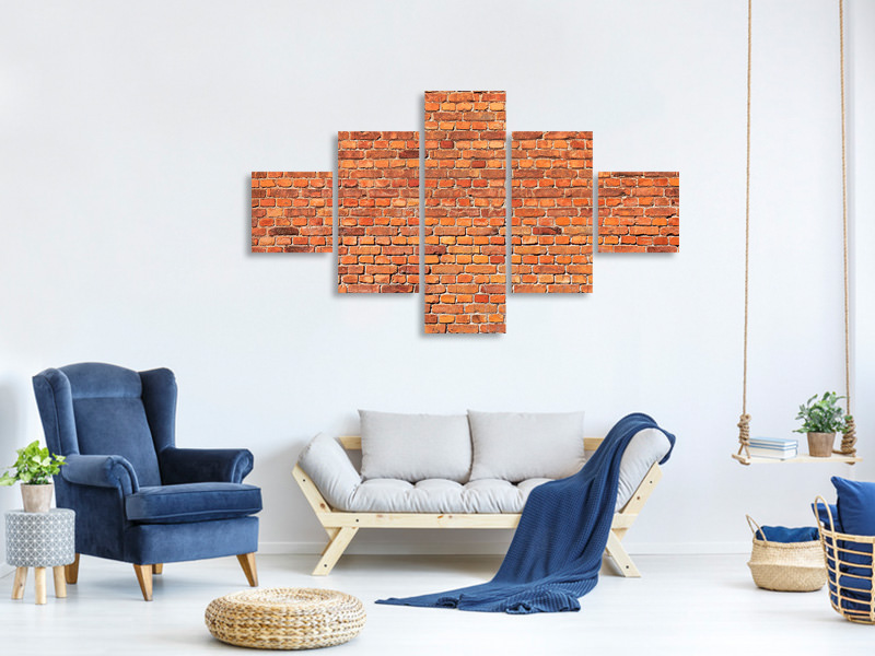 Leinwandbild 5-teilig Red Brick Wall