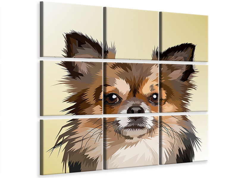 9 Piece Canvas Print Pop Art Dog Portrait