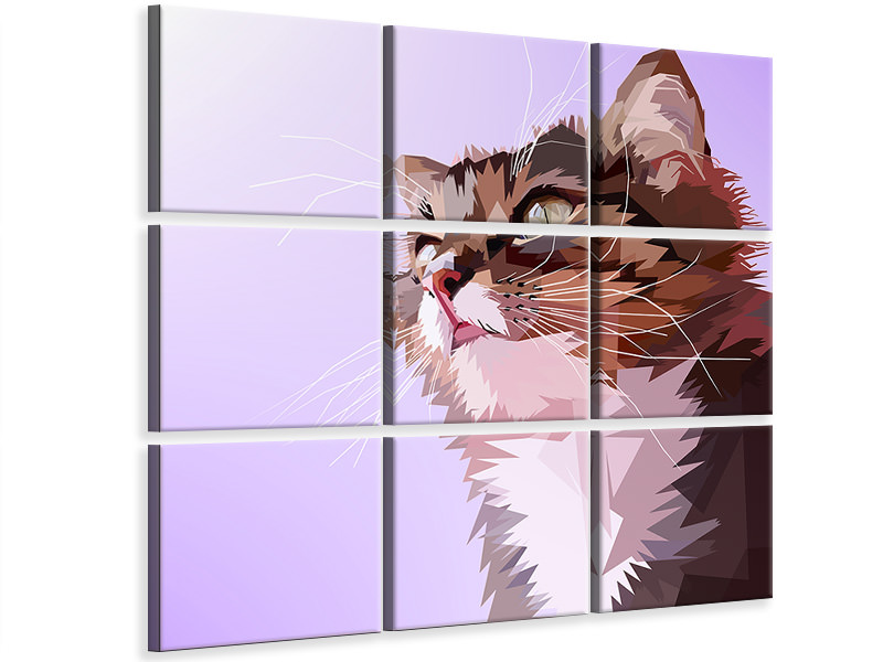 9 Piece Canvas Print Pop Art Cats Portrait
