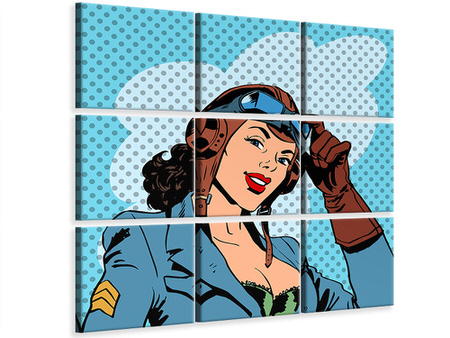 9 Piece Canvas Print Pop Art Pilot